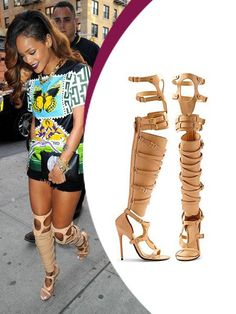 Rihanna Boots beige leather belts and buckles embellished open toe stiletto high heel over the knee gladiator boots
