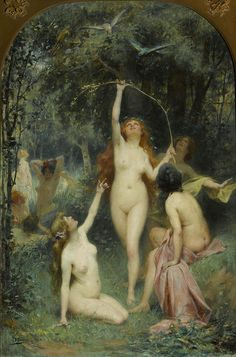 Henri Adrien Tanoux Nymphs in a forest,