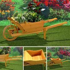 Macetero de madera con bonito diseño de carretilla para terraza o jardín