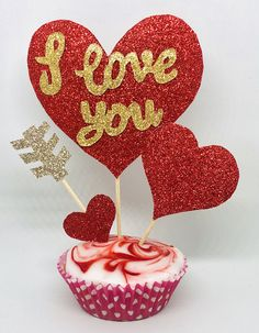 Excited to share this item from my shop: Valentine's Day Glitter Cupcake Toppers Glitter Cupcakes, Fiesta Decorations, Love Cards, Creative Words, Cupid, Shiva, Cupcake Toppers, Valentines Day, Handmade Items