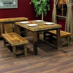 Reclaimed Barnwood Table and Benches- Rustic Dining