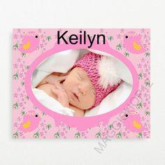 Custom photo canvas ,pink, birds,flowers ,personalized canvas,baby room decor,girls room decor
