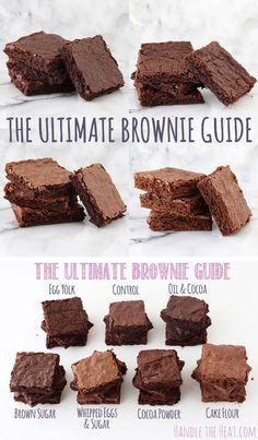 what makes brownies chewy, fudgy, or cakey! Köstliche Desserts, Delicious Desserts, Dessert Recipes, Yummy Food, Brownie Guides, Brownie Recipes, Best Brownie Recipe, Dessert Bars, Dessert Food