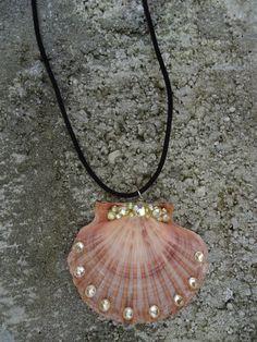 Seashell Conch Necklace with Rhinestone by GrannysInspirations, $19.99