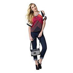 $24.99 - Jaclyn Smith Women's Open Shoulder Crepon Blouse - Geometric - K-Mart