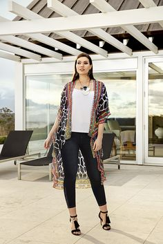 K&K plus size curvy fashion. This kaftan jacket is a show stopper! Embellished collar gives an extra 'wow' factor - the essential summer wardrobe item.