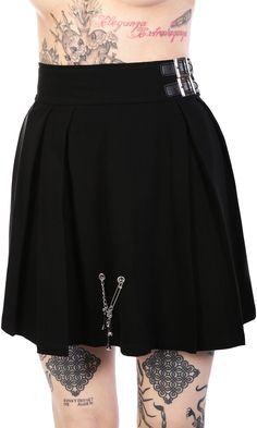 """Disturbia X Dolls Kill Reform Skirt #disturbiaclothing disturbia metal alien goth occult grunge alternative punk Silver metal bone and chain charm detail pleated Double silver metal buckle with false leather belt. Exposed silver metal back zip. 95% Cotton 5% Elastane. Model is 5'3"""" and is wearing size Small. TAG YOUR PURCHASE: #disturbiaclothing IN STOCK & SHIPS WITHIN 24 HOURS"""