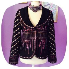 """• BEST • OFFER • TODAY • Beautiful Embroidered • Fully Lined • Cover Shot Uses Filters to Enhance Beauty • Second photo more true that color • 80% Polyester 20% Wool • Has a few loose threads • Not that noticeable (could be clipped) • Mauve Lining with quote embroidered """" Where there is love, there is life"""" • Re-Posh Paparazzi Jackets & Coats Blazers"""