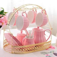 Solid Color Porcelain Tea Sets of 15 For Parties -You can find Porcelain and more on our website.Solid Color Porcelain Tea Sets of 15 For Parties - Diy Vintage, Vintage Teacups, Sushi Set, Everything Pink, Cupping Set, Pink Candy, Afternoon Tea, Cup And Saucer, Pretty In Pink
