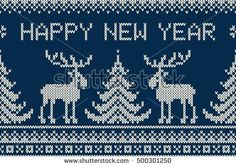 Winter Holiday Seamless Knitting Pattern with a Christmas Tree, Elks and Greeting Text Happy New Year. Seamless Knitted Background. Fair Isle Knitting Sweater Design.