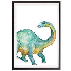 Watercolour Brontosaurus WALL PRINT