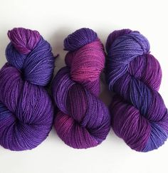 Purple purple purple! I love . Majestic Morning Glory in the middle nicely framed by Blueberry. All on Lighthouse Sock/Fingering 100% superwash Merino 400yds/115g 2-ply.