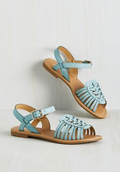 Worldly Wanderings Sandal in Aqua. You need not collect souvenirs at every stop, for the aqua sandals you sport are a treat in and of themselves! #blue #modcloth