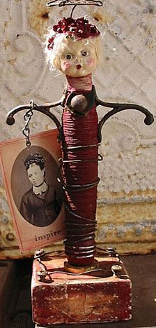 Found Object Spool Angel Holding a Vintage Photo