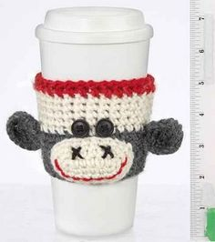 monkey cup cozy--it is great enough to make me wish I knew how to crochet