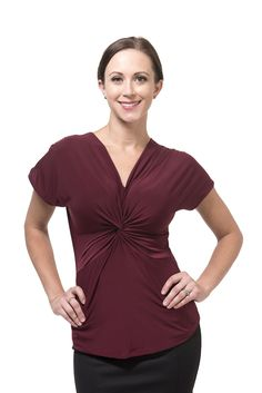 Knot Front Top in Marsala for Full-Busted Women – Front Room Knot Front Top, True Red, Professional Women, Work Fashion, Girl Boss, Knots, Stylists, V Neck, Marsala