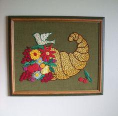 Vintage 1970s Framed Crewel Embroidery