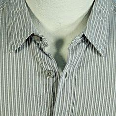 Ermenegildo ZEGNA Seersucker Gray White Stripe Casual Dress Shirt Mens 16.5 42 #Zegna
