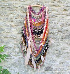 Custom Crochet  Cowl  Mixed Media Yarn and Fabric Cowl by Shalotte, £60.00