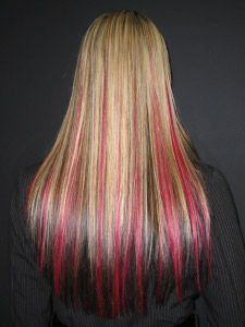 Blonde with streaks of pink