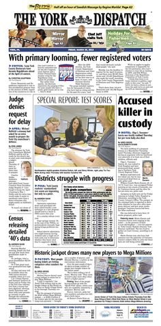 Front page of the York Dispatch for March 30, 2012