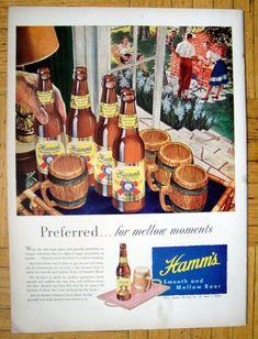 Unused 1960s white foil CALIFORNIA San Francisco HAMM/'S BEER 12oz Label