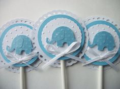 Elephant Cupcake Toppers Baby Shower Cupcake Toppers by 2muchpaper, $10.00