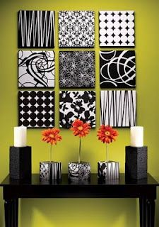 use scrapbook paper and cover a blank canvas and paint the sides.....awesome idea.
