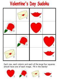 Valentine's Day printable sudoku puzzles