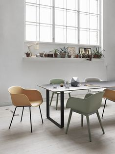 Lovely Spring colour palette - introducing hints of these colours into the shoot. Muuto — fiber chair and lots of plants