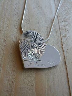 Heart Shaped Fingerprint Pendant by MetalMonkeyJewellery on Etsy, $195.00 I want this!!