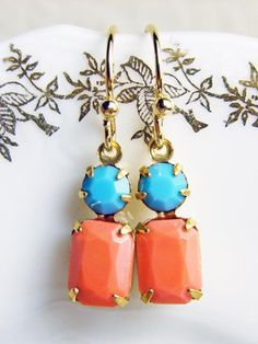 Vintage Rhinestone Earrings. Coral Pink and Turquoise Blue. 14K Gold Filled Earwire