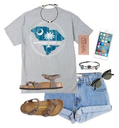 """""""Driver's Ed"""" by annagabriel on Polyvore featuring Levi's, Urban Decay, Birkenstock and Ray-Ban"""