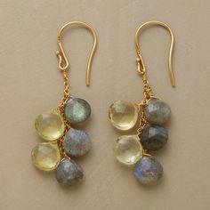 HELIOS EARRINGS--Droplets of lemon topaz and iridescent labradorite. 22kt goldplate