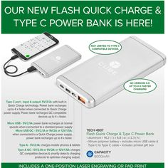 With Quick Charge technology, Smart Charge circuitry and a Type C port, our new second generation Flash Power Bank takes power bank functionality to the next level.  If you're serious about back-up power and require a power bank that can charge connected devices and be recharged itself in the fastest possible time, Flash is the power bank for you!  Featuring a 8000mAh lithium polymer battery, it is presented in a printed gift box, together with a micro USB cable & Type C to Type C cable… Brand Power, Stylus, Banks, Cell Phone Accessories, Connection, Phones, Cable, Usb, Technology