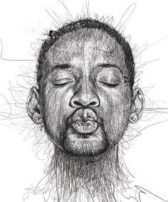 Художник создаёт портреты знаменитостей, расписывая ручку