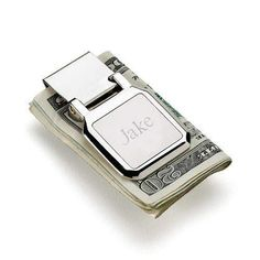 Select Gifts Designer Pattern Money Clip 55mm Wide Silver-Tone Rhodium Engraved Personalised Box