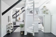 Home Interior Design — Cozy loft in Sweden features a tucked-away bedroom. Design 24, Design Case, Modern Design, House Design, Design Ideas, Interior Design Examples, Interior Design Inspiration, Lofts, Small Apartments