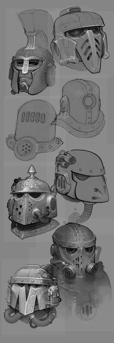 Space Marine helm sketches - personal work.