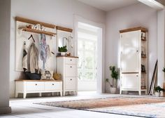 Garderobe Malin Set 3 Holz Akazie Weiß 20864. Buy now at https://www.moebel-wohnbar.de/garderobe-malin-set-3-holz-akazie-weiss-20864.html