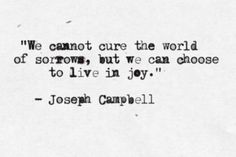 """We cannot cure the world of sorrows, but we can choose to live in joy."" - Joseph Campbell"