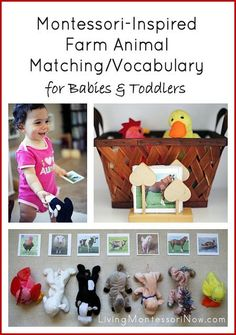 I decided to prepare a Montessori-inspired farm-animal matching and vocabulary activity for a baby or toddler.