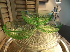 GREEN DEPRESSION GLASS Bowls Set of Three by VintageCreativeAccen