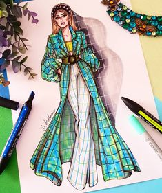 with ・・・ Checkered vibe 💙💚👗 . Fashion Drawing Tutorial, Fashion Figure Drawing, Fashion Drawing Dresses, Fashion Illustration Dresses, Dress Illustration, Dress Design Drawing, Dress Design Sketches, Fashion Design Sketchbook, Fashion Design Drawings