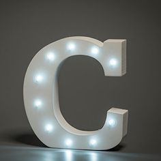 White LED Wooden Letter C Lights Sign - 6 Inch Wooden Letters Stand Up
