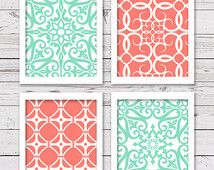 mint and coral bedroom ideas - Google Search