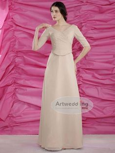 Half Sleeve Ruched Bodice Floor Length Chiffon Dress
