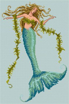 Mermaid Cross Stitch Chart PDF. £5.00, via Etsy.