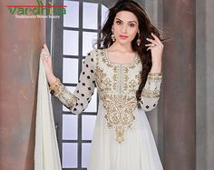 Off white color Georgette fabric Anarkali suit by VardhitaSarees