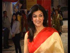 Sushmita Sen seen attending Durga Puja 2014 in Bandra, Mumbai.